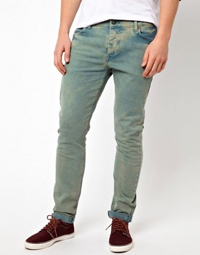 Image 1 ofASOS Skinny Jeans In Washed Green