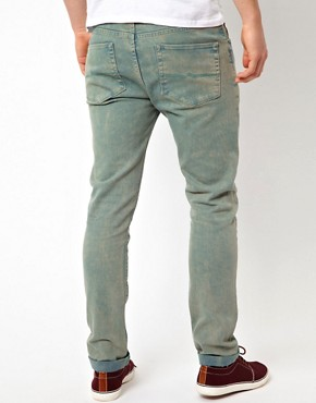 Image 2 ofASOS Skinny Jeans In Washed Green
