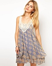 Pepe Jeans Printed Dress With Crochet Top