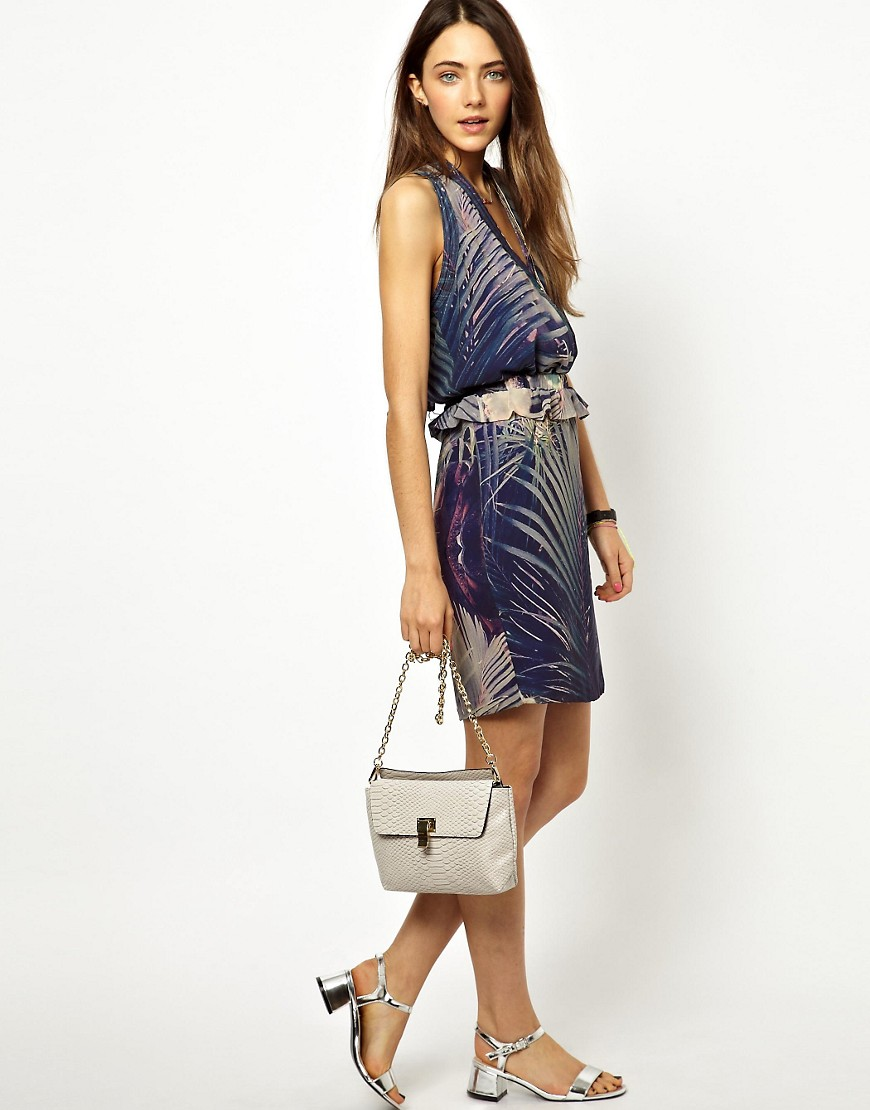 Image 4 ofMaison Scotch Halter Neck Dress in Tropical Print