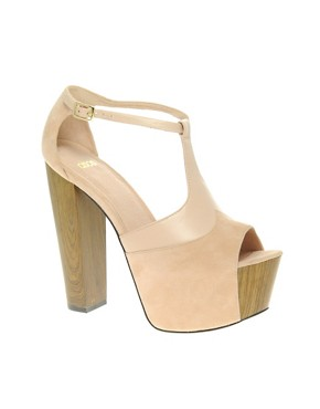 Image 1 ofASOS BITTEN Suede Platform Heeled Sandals with T-Bar