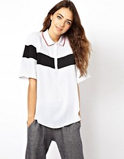 ASOS T-Shirt With Colourblock Panels And Jersey Collar