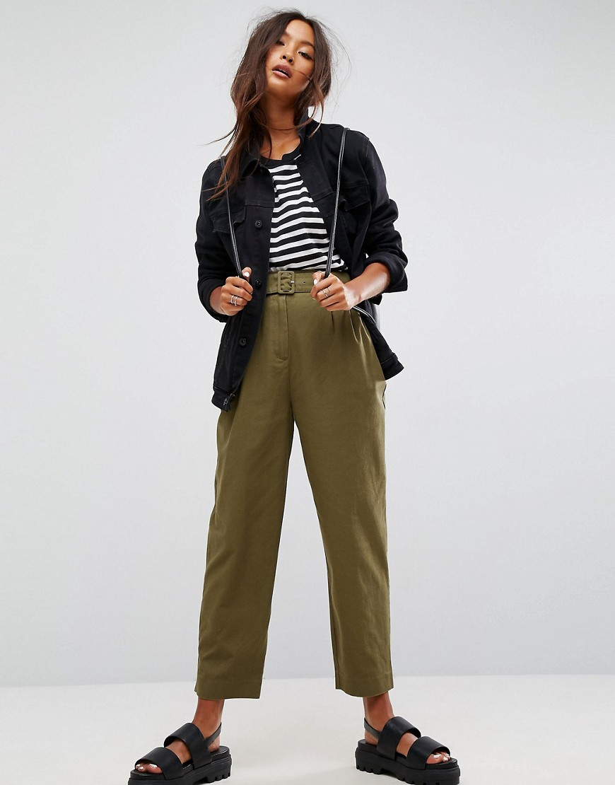 ASOS Tapered High Waist Chino Trousers with Belt - Khaki