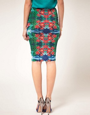 Image 2 ofASOS Pencil Skirt In Mirrored Tropical Print