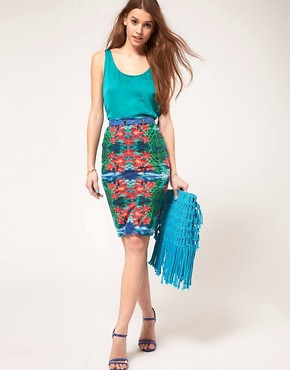 Image 4 ofASOS Pencil Skirt In Mirrored Tropical Print