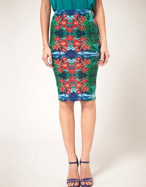 Image 1 ofASOS Pencil Skirt In Mirrored Tropical Print