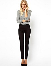 ASOS High Waist Pants in Cotton Twill