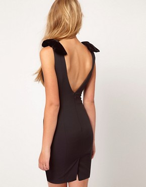 Image 2 of ASOS PETITE Exclusive Pencil Dress With Velvet Bows