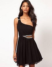 Little Mistress Jewelled Cut Out One Shoulder Dress