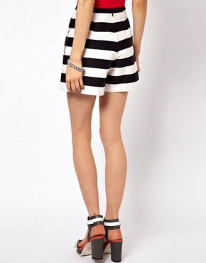 Image 2 ofASOS High Waisted Shorts In Bold Stripe