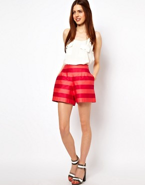Image 1 ofASOS High Waisted Shorts In Bold Stripe