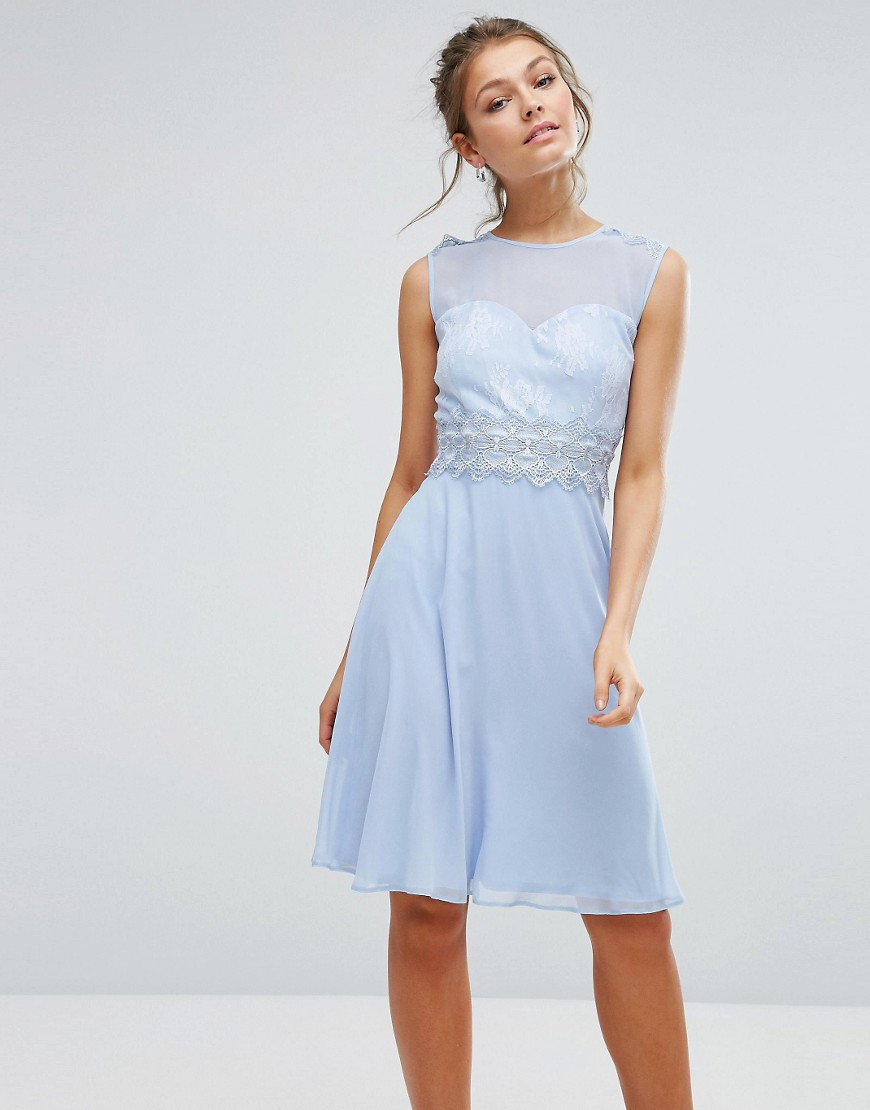 Elise Ryan Sweetheart Midi Dress With Lace Bodice