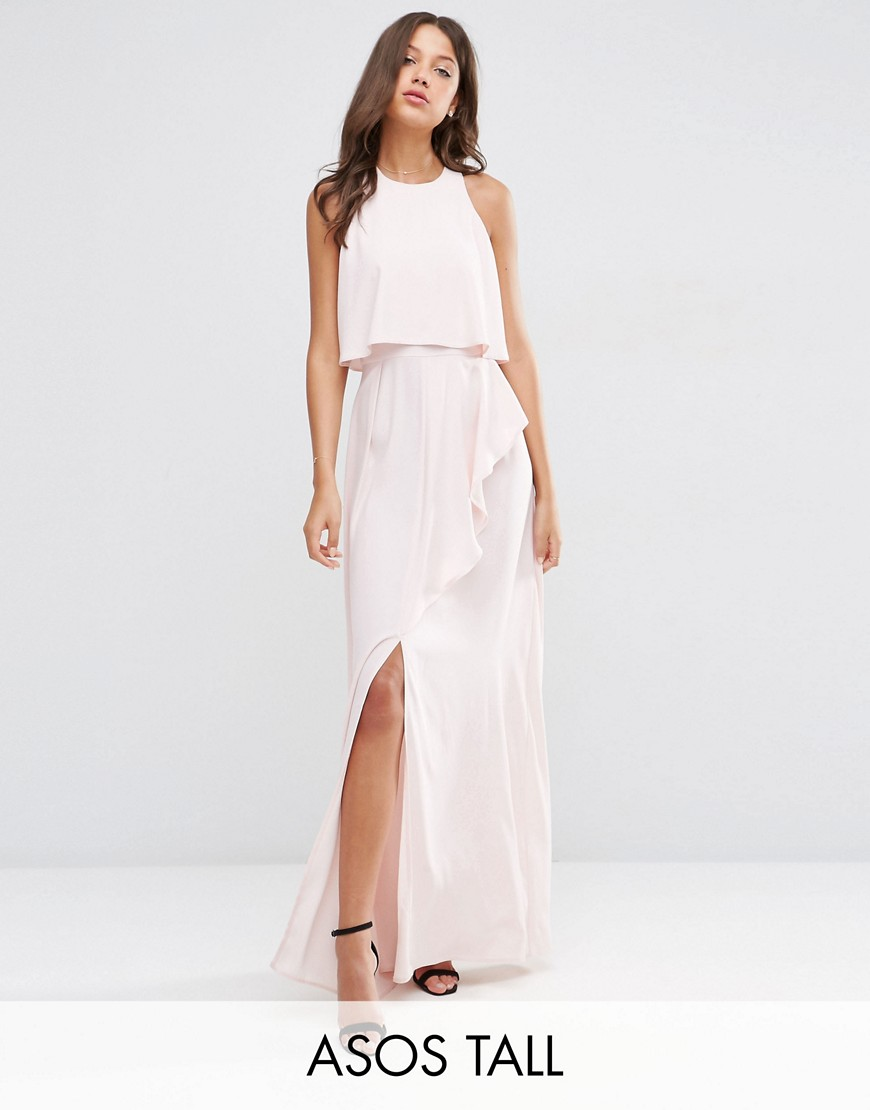 ASOS TALL Crop Top Ruffle Split Maxi Dress - Nude