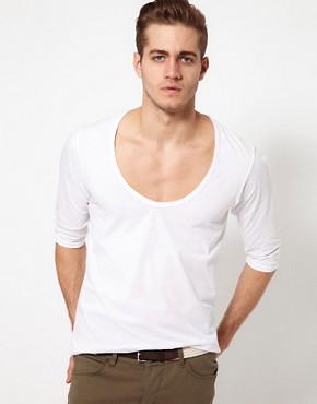 Image 1 ofASOS 3/4 Sleeve T-Shirt With Deep Scoop Neck