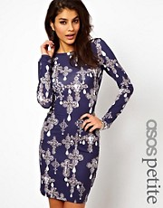 ASOS PETITE Bodycon Dress In Cross Print