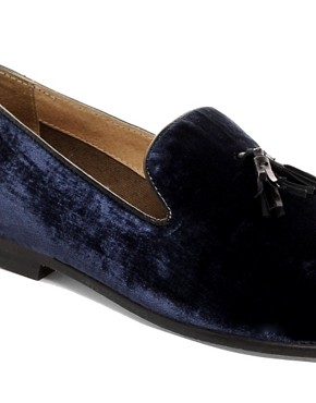 Image 2 ofASOS Velvet Tassel Loafer With Leather Sole