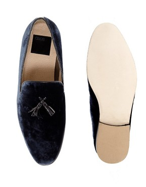Image 3 ofASOS Velvet Tassel Loafer With Leather Sole