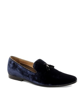 Image 1 ofASOS Velvet Tassel Loafer With Leather Sole