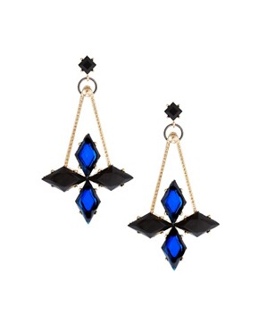 Image 1 ofASOS Midnight Spike Drop Earrings