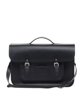 Image 1 ofCambridge Satchel Company Navy Matt Leather 15&quot; Batchel