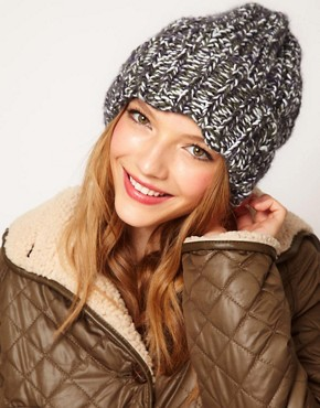 Image 1 ofASOS Chunky Mixed Knit Boyfriend Beanie