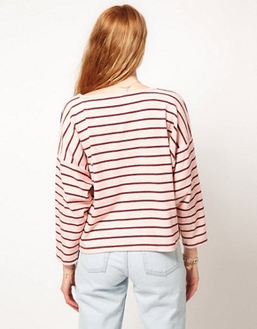 Image 2 ofDansk Stripe Oversized Square Sweatshirt