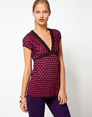 M Missoni Fine Knit V-Neck Top