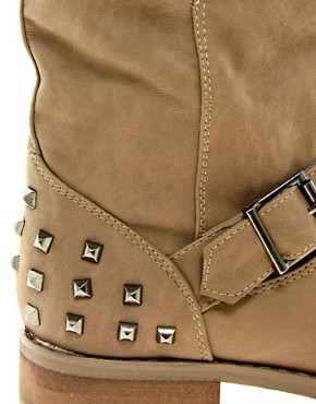 Image 4 ofNew Look Boisterous Brown Studded Biker Boots