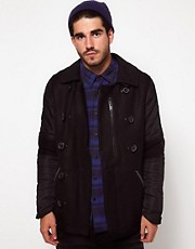 Denham Jacket With Quilted Sleeves