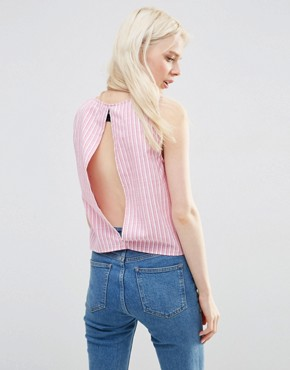 ASOS Open Back Shell Top In Pink Stripe