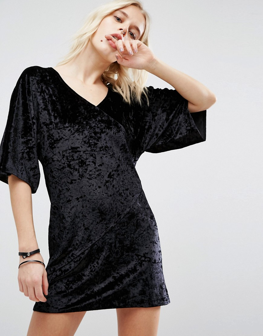 Story Of Lola Velvet Wrap Front Kimono Dress - Black