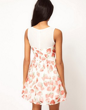 Image 2 ofPaprika Skater Dress In Strawberry Print