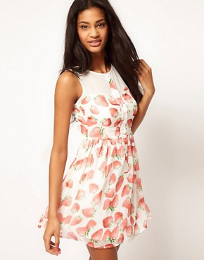 Image 1 ofPaprika Skater Dress In Strawberry Print