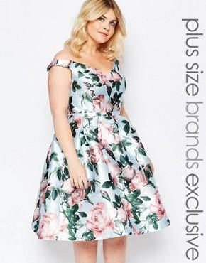 Chi Chi London Plus Bloom Printed Bardot Prom Dress