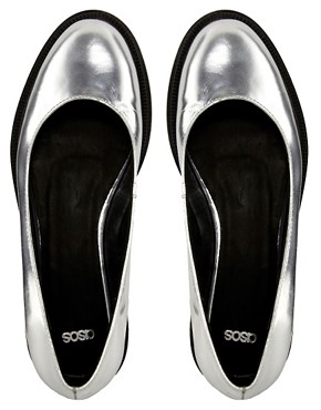 Image 2 ofASOS MERRY Leather Flat Shoes