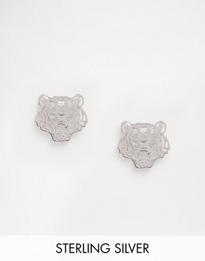 Kenzo Rhodium Sterling Silver Mini Tiger Earrings