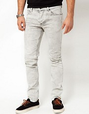 ASOS Skinny Jeans In Grey Acid Wash