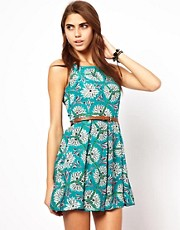 Glamorous Belted Skater Dress in Retro Flower Print