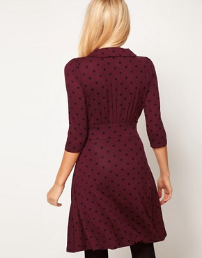 Image 2 ofASOS Mini Dress In Spot Print With Peter Pan Collar