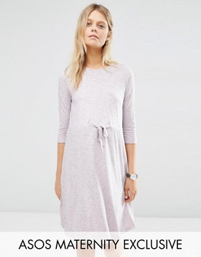 ASOS Maternity LOUNGE Drawstring Dress with Short Sleeve in Lilac Space Dye