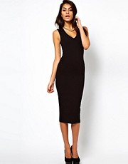 ASOS Midi Bodycon Dress With Deep V Neck