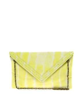 Image 1 ofJocasi Leather Envelope Tie Dye Clutch Bag