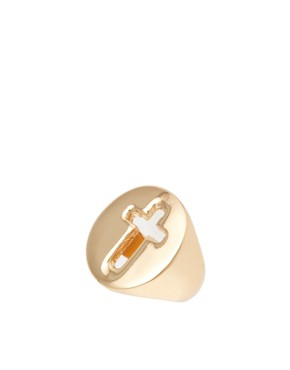 Image 1 ofASOS Cut Out Cross Ring