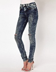 ASOS Ridley Supersoft High Waisted Ultra Skinny Jeans In Acid Wash With Rips