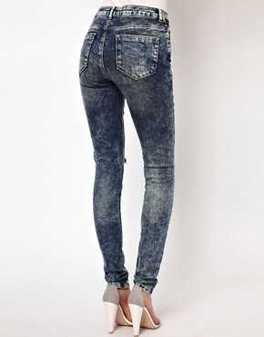 Image 2 ofASOS Ridley Supersoft High Waisted Ultra Skinny Jeans In Acid Wash With Rips