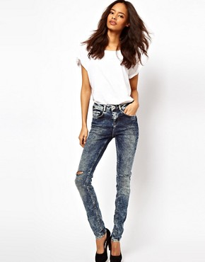 Image 4 ofASOS Ridley Supersoft High Waisted Ultra Skinny Jeans In Acid Wash With Rips