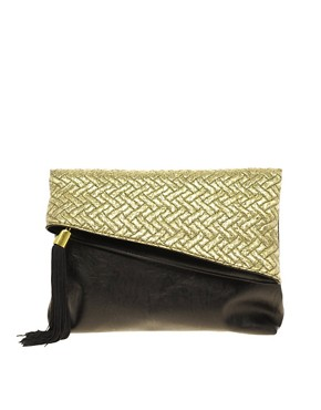 Image 1 ofASOS Metallic Jaquard Foldover Clutch