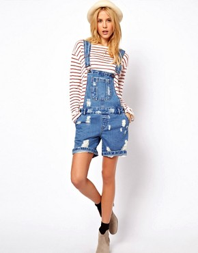 Image 4 ofASOS Denim Dungaree Shorts in Ripped Vintage Wash
