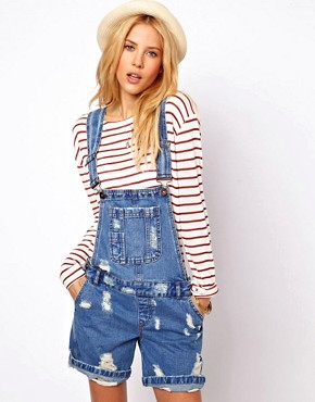 Image 1 ofASOS Denim Dungaree Shorts in Ripped Vintage Wash