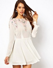 True Decadence Skater Dress with Embellishment and Keyhole Back